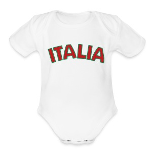 Infant ITALIA, White - Short Sleeve Baby Bodysuit