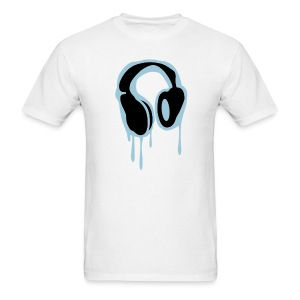 Iced out headphones mens white tee - Men's T-Shirt