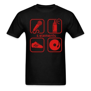 The 4 Elements mens black tee with red graphic - Men's T-Shirt