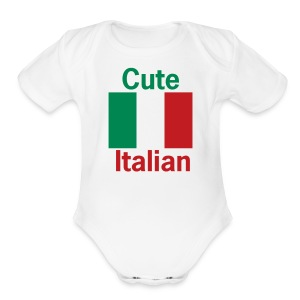 Cute Italian Onesy, White - Short Sleeve Baby Bodysuit