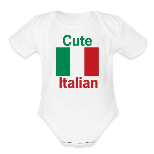 Cute Italian Onesy, White - Organic Short Sleeve Baby Bodysuit