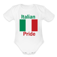 Baby Bodysuits ~ Baby Short Sleeve One Piece ~ Italian Pride Onesy, White