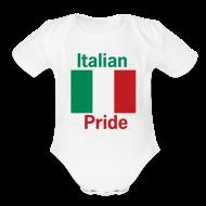 Baby Bodysuits ~ Baby Short Sleeve One Piece ~ Italian Pride Onesy, White