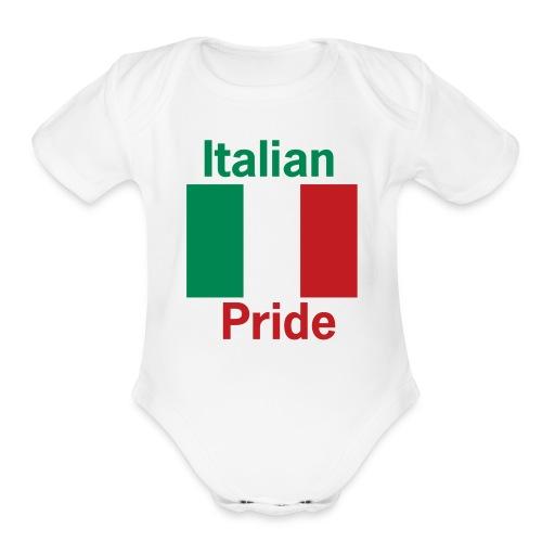 Italian Pride Onesy, White - Organic Short Sleeve Baby Bodysuit