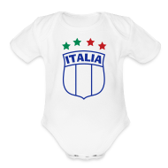 Baby Bodysuits ~ Baby Short Sleeve One Piece ~ Infant ITALIA Shield 4-Star Onesy, white