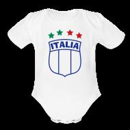 Baby Bodysuits ~ Baby Short Sleeve One Piece ~ Infant ITALIA Shield 4-Star Onesy, white