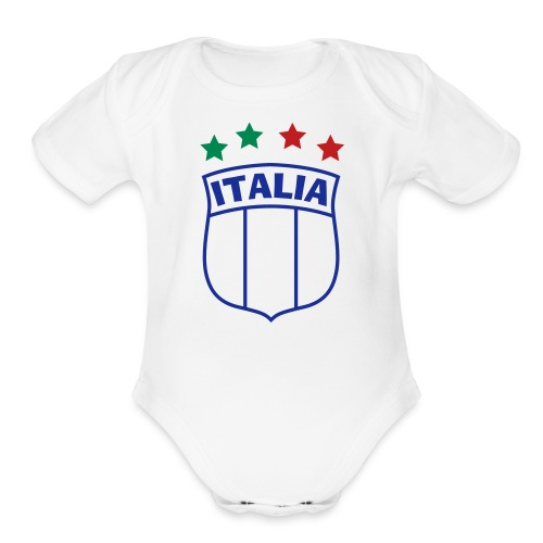Infant ITALIA Shield 4-Star Onesy, white - Organic Short Sleeve Baby Bodysuit