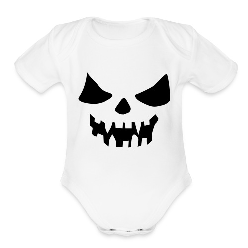 Scary Face One size - Organic Short Sleeve Baby Bodysuit