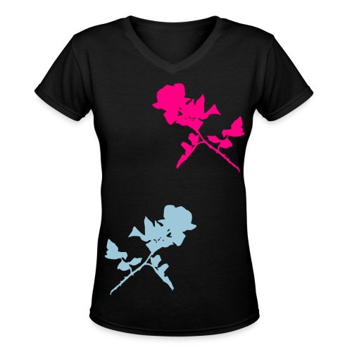 Twin Rose Shirt - Women's V-Neck T-Shirt