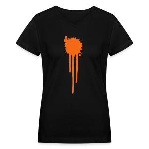 Orange spash - Women's V-Neck T-Shirt