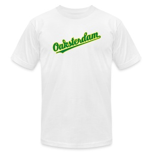 Oaksterdam White Baseball T-Shirt - Men's T-Shirt by American Apparel