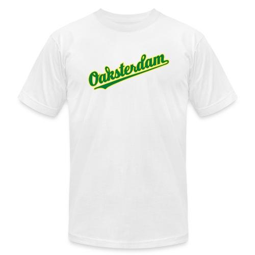 Oaksterdam White Baseball T-Shirt - Men's Fine Jersey T-Shirt