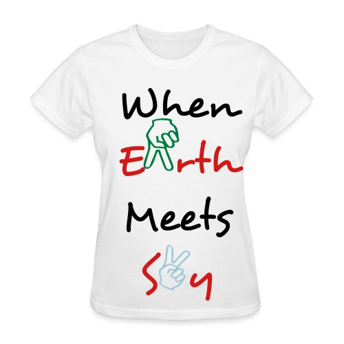 Ladies When Earth Meets Sky Peace Sign T-shirt - Women's T-Shirt