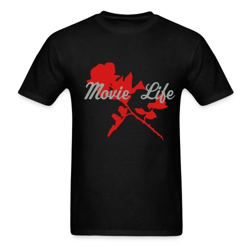 Black with Red Rose Men's Tee Light Weight - Men's T-Shirt