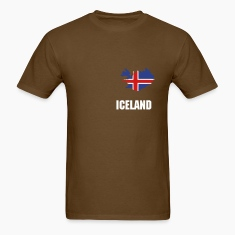 Brown Iceland flag map Men