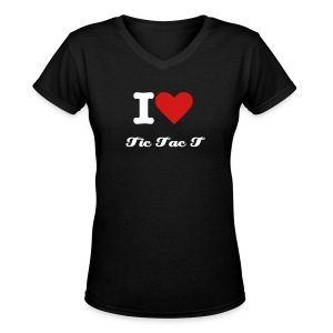 I Heart Tic Tac T black v-neck - Women's V-Neck T-Shirt