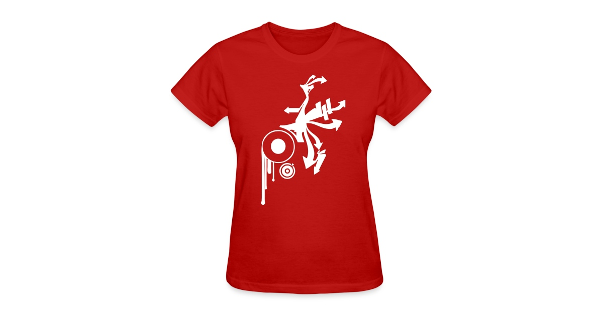 1370cd226547 Vintage Designer Tshirts.com | Awesome Graffiti Design on a Red T-shirt -  Womens T-Shirt