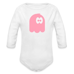 Long Sleeve One Piece with a pink monster - Long Sleeve Baby Bodysuit
