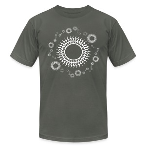 Mens Retro Orbiting Suns T-shirt Design - Men's T-Shirt by American Apparel
