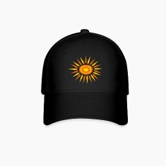 Black Big Sun With Alternate-Color Rays and Rings Cap