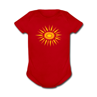 Red Big Sun With Alternate-Color Rays and Rings Kids & Baby