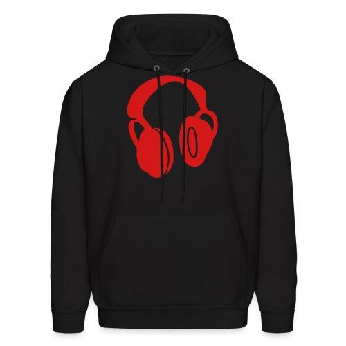 Headphones (Red) - Black Hoodie - Men's Hoodie