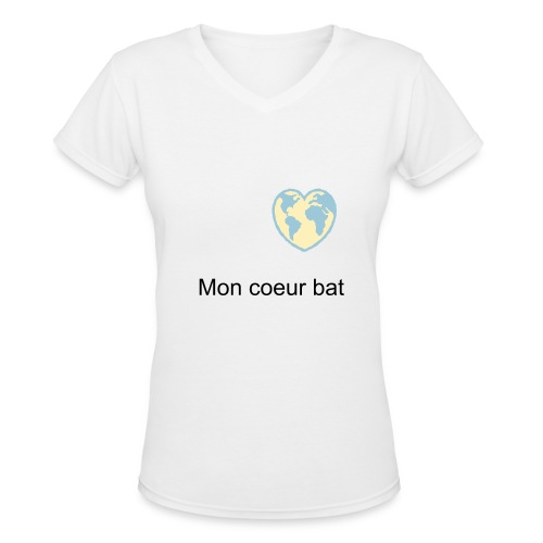 Mon coeur bat - Women's V-Neck T-Shirt