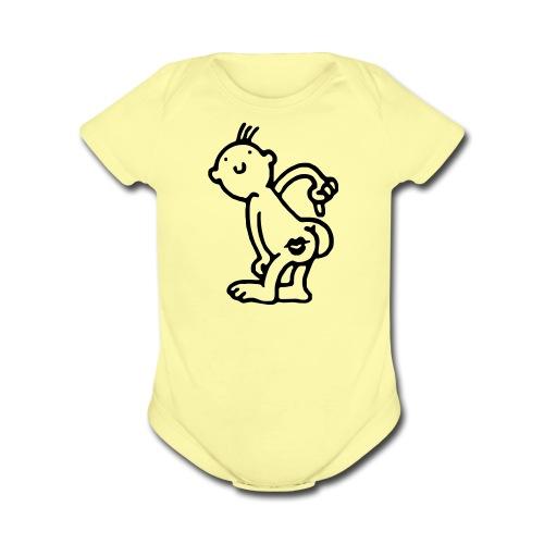 kiss my ass - Organic Short Sleeve Baby Bodysuit