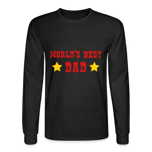 Mens Long Sleeve - Worlds Best Dad - Black - Men's Long Sleeve T-Shirt