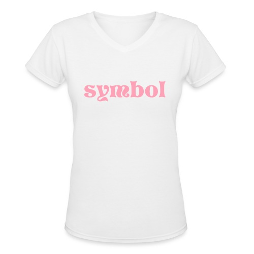 Womens symbol vneck wht - Women's V-Neck T-Shirt