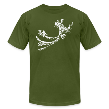 Olive White Surfing Wave Design T-Shirts (Short sleeve)