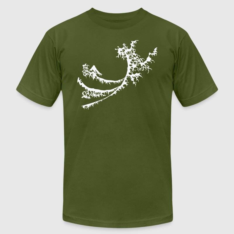 Olive White Surfing Wave Design T-Shirts (Short sleeve) - Men's T-Shirt by American Apparel