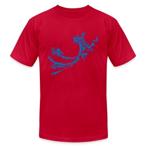 Mens Wet Blue Wave Surfing T-shirt - Men's T-Shirt by American Apparel