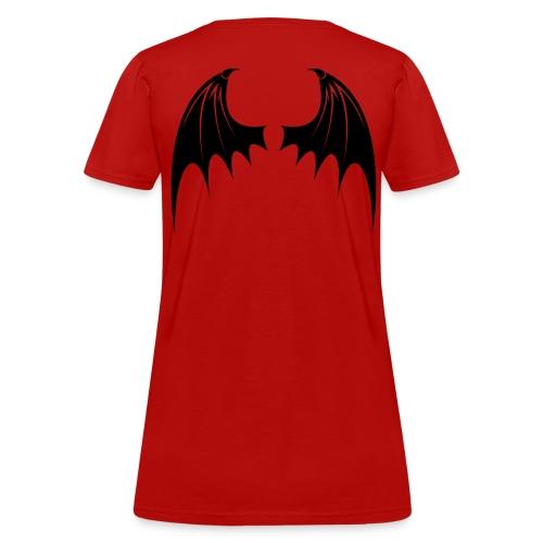 Black Bat Wing design on a red ladies t shirt - Women's T-Shirt