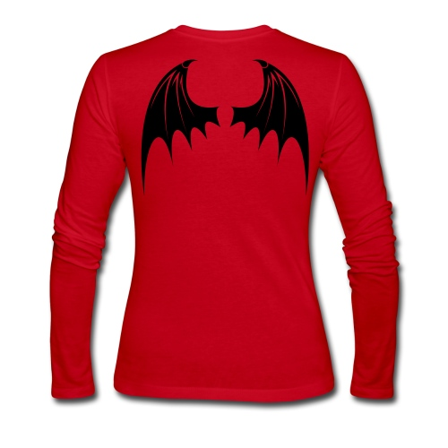 Black Bat Wing design on a red ladies long sleeve - Women's Long Sleeve Jersey T-Shirt