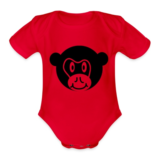 Monkey Face One size - Organic Short Sleeve Baby Bodysuit