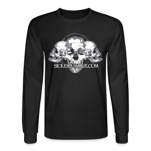 Sick Drummer 3 Skull Long Sleeve - Men's Long Sleeve T-Shirt