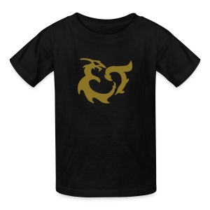 DRAGON RIDER SAPHIRA Gold Glitter Design on Black Tee - Kids' T-Shirt