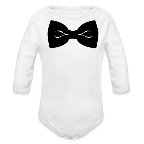 Bow Tie- White Long Sleeve One size - Organic Long Sleeve Baby Bodysuit