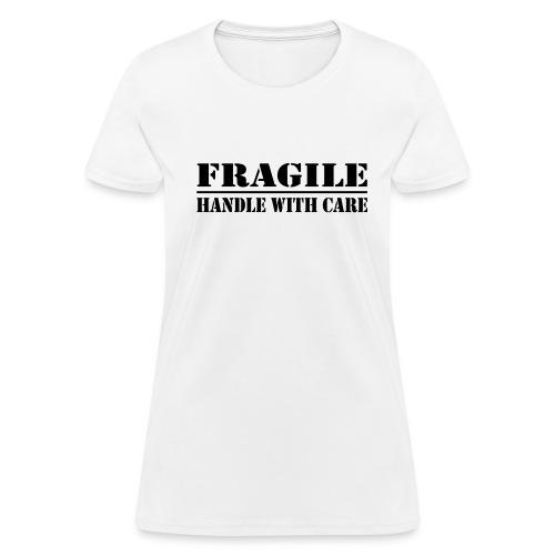 Fragile Womens Tee White - Black Print - Women's T-Shirt