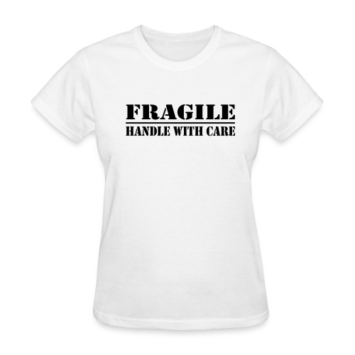 Fragile Womens Tee White - Black Print - Women's T-Shirt