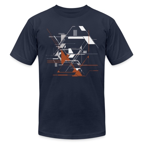 Mens Awesome Line and Technology Shapes Tee - Men's Fine Jersey T-Shirt