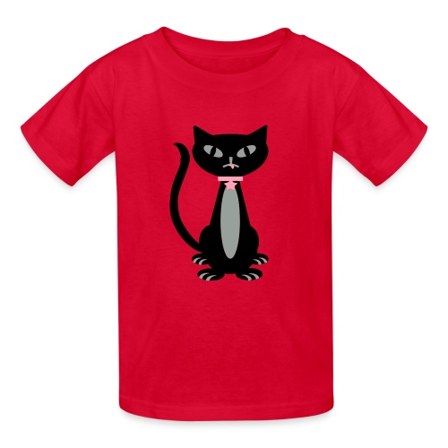 Kool Kids Tees 'Fancy Cat' Youth Tee, Red - Kids' T-Shirt