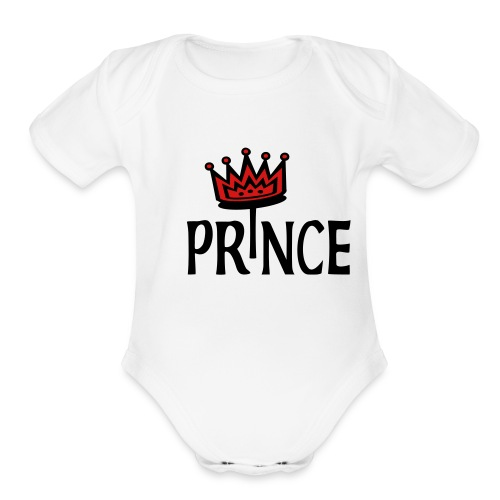 Kool Kids Tees 'Prince With Crown' Baby One size, White - Organic Short Sleeve Baby Bodysuit