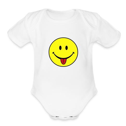 Smiley One size - Organic Short Sleeve Baby Bodysuit