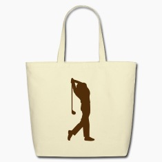 Creme male golfer silhouette Bags