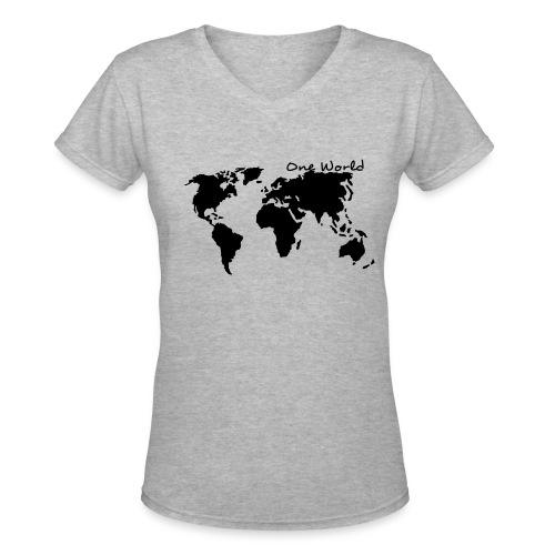 One World/One Love - Women's V-Neck T-Shirt