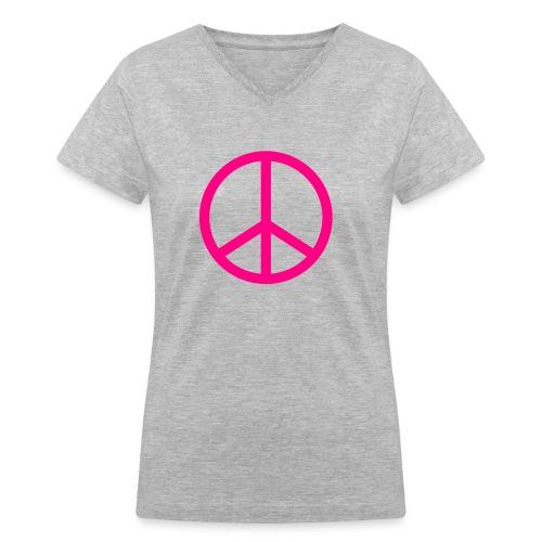 Neon Peace - Women's V-Neck T-Shirt