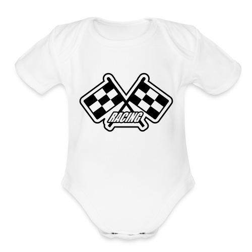 racing-one size - Organic Short Sleeve Baby Bodysuit