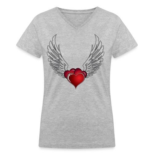 Splattered Heart - Women's V-Neck T-Shirt